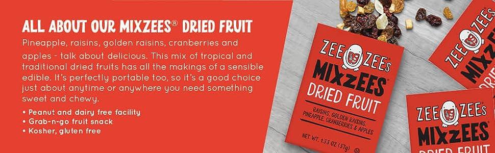 mixzees, dried fruit