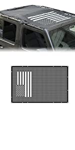 US Flag Durable Polyester Mesh Shade Top Cover Provides UV Sun Protection for JL JLU Black White