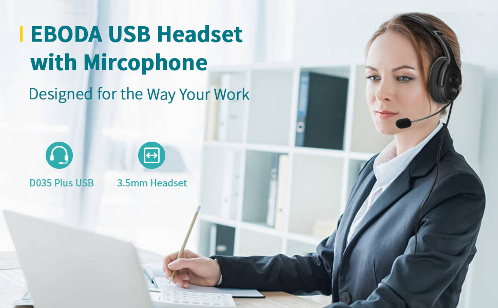 usb and 3.5 telephone headset with microphone, computer headset with mic, wired headphone for skype
