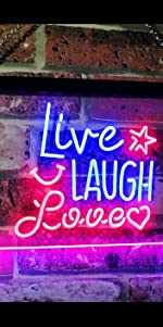 ADVPRO LED Neon sign light-ing Dual-color Love Lovers Valentines heart sweet Live Laugh