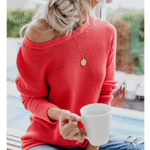 woman crewneck sweater women sweater knitted red sweater pullover tops winter pullover sweater
