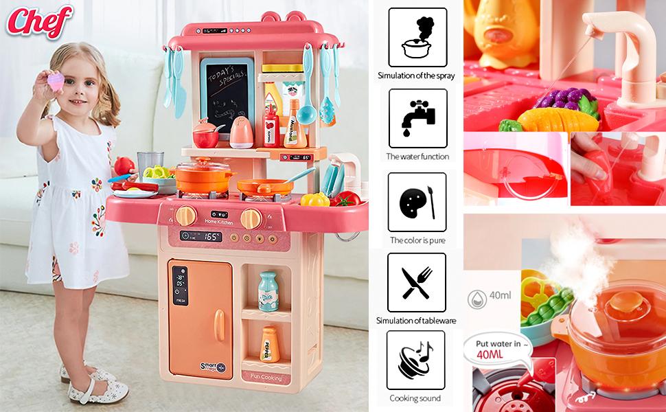 Toy for girls kids kitchen set barbie big steel food babies Light Music Sound Small Size