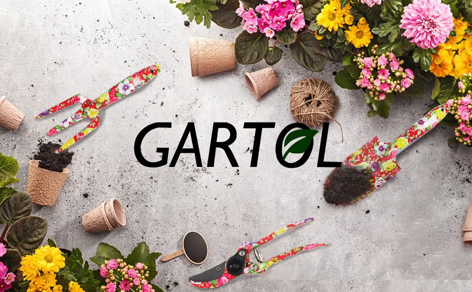 GARTOL 3 Piece Garden Tool Set - Thick Aluminum Gardening Tools Kit Set with Green Floral Print