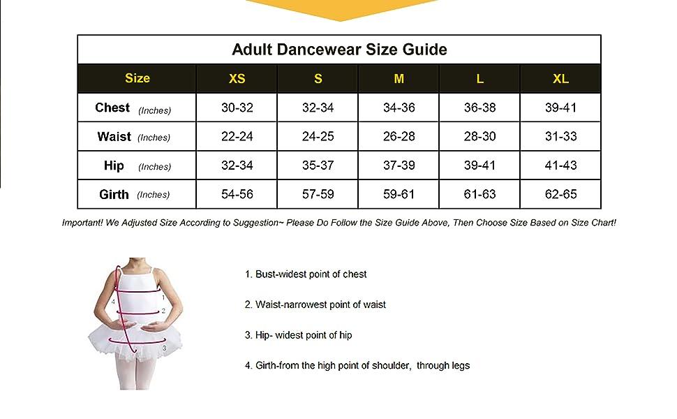 dancewear size guide