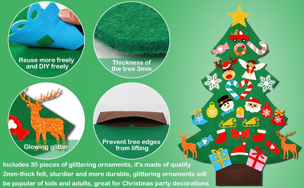 DIY Felt Christmas Tree with 30pcs Glitter Ornaments