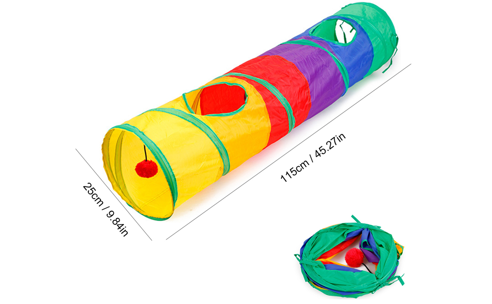 Cat Foldable Rainbow Tunnel with Play Ball