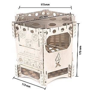 WIKA Cocina portátil de Hobo FlexFire, para camping, para exteriores, para pesca, senderismo, viajes, familias, acero inoxidable V4A, para todo el ...