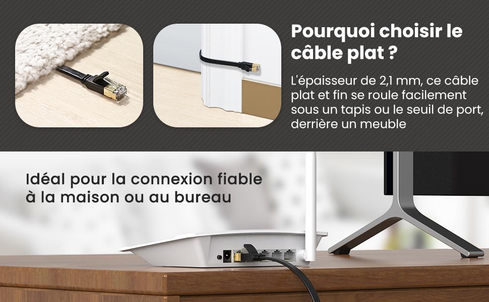 le câble ethernet plat est idéal pour se rouler facilement sous un tapis