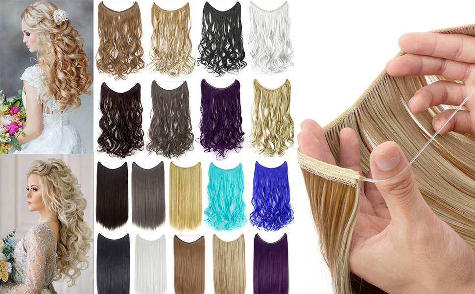 """22""""/24"""" Curly Straight Invisible Hidden Wire Synthetic Hair Extensions Secret Wire No Clips"""