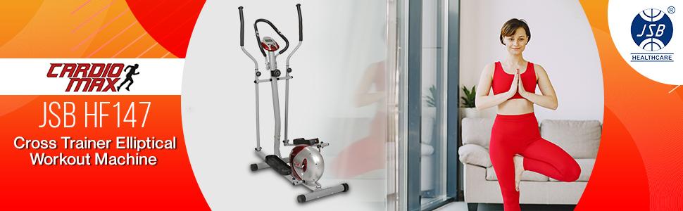 cardio max jsb hf147 elliptical cardio trainer exercise bike
