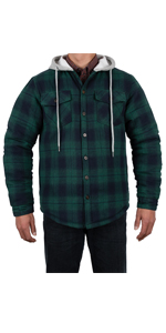 Men's Quilted Lined Button Down Plaid Flannel Shirt Jac