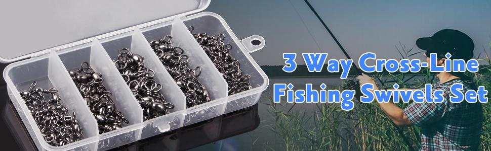 3 Way Cross-Line Barrel Fishing Swivels Set - 120PCS Brass T-Shape Triple Swivel Connector