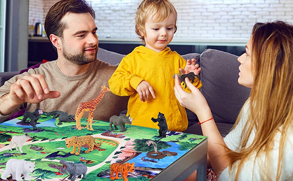 zoo animal toys figurines set best gift for kids safari animal toys