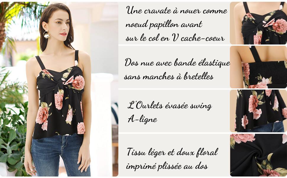 GRACE KARIN Femme Chemisier Floral Imprim/é /à Manches Longues Bouffantes et Irr/égulier High-Lo Ourlet Col en V