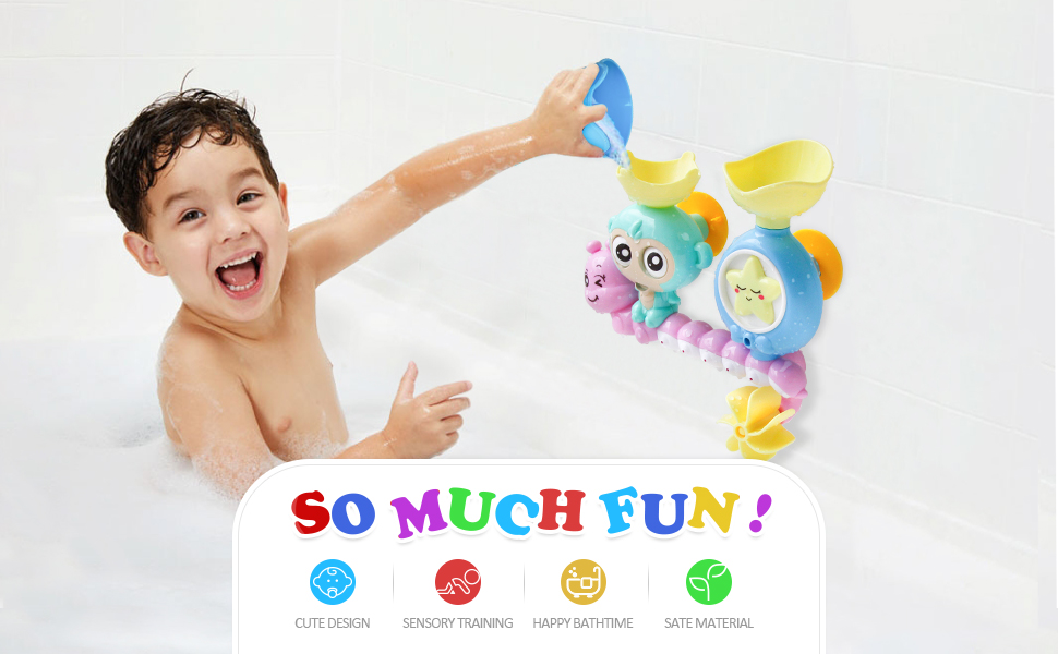 zoordo Baby Bath Toy Lovely Cloudy Bathtub Shower Toy Water Spray Head Game for Toddlers Kids (Only Stick on Smooth Surface)