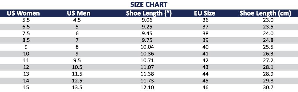 Size Chart for Vinlas Unisex Rubber Garden Shoes