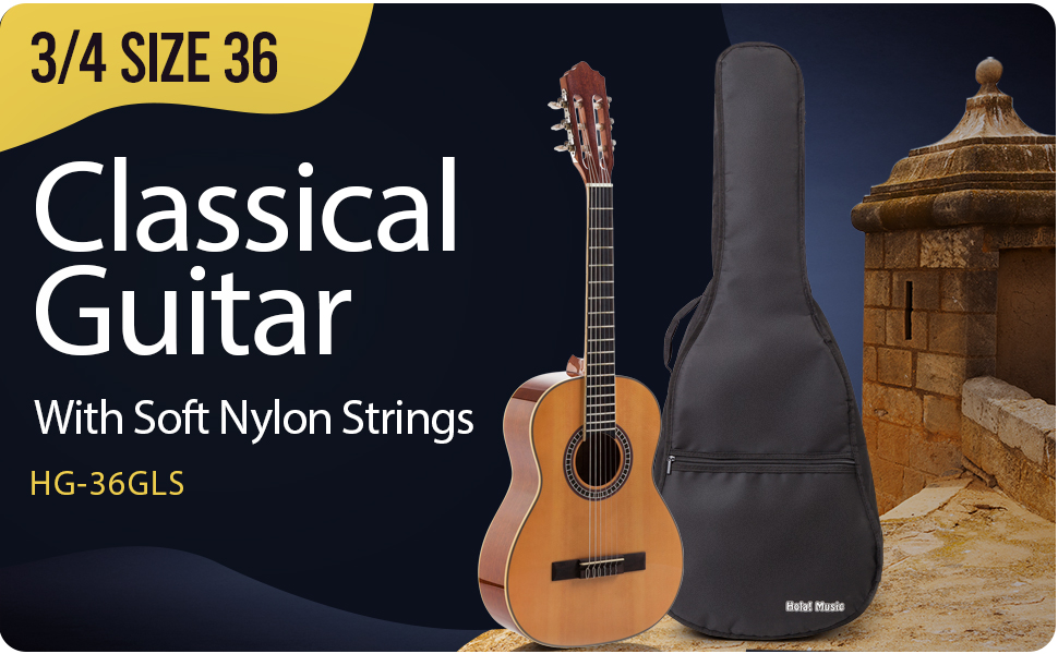Hola Music HG-36GLS 3/4 size Classical Guitar with padded gig bag, truss rod, Hex Key