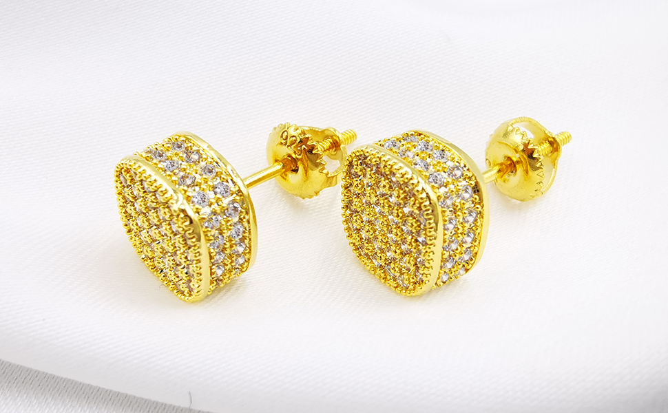 Daesar Gold Plated Earrings Womens Stud Earrings White Cubic Zirconia Earring Round Pave CZ Earrings