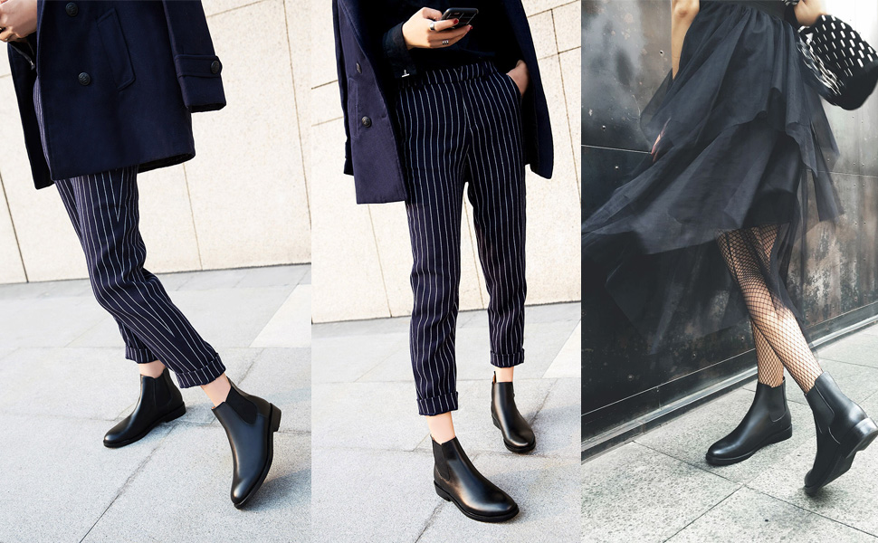 black leather chelsea boots women no heel