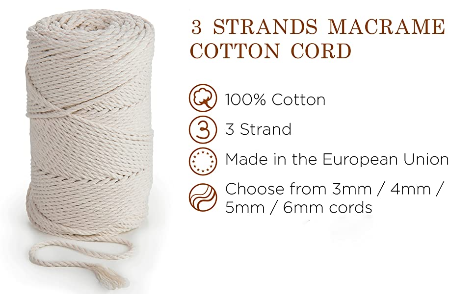 6mm Macram\u00e9 Cord Royal Blue High Gloss Cord Size 0 Cord Made in USA  6mm=.23622 inches just less than 14 inches  DIY plant hangers plus