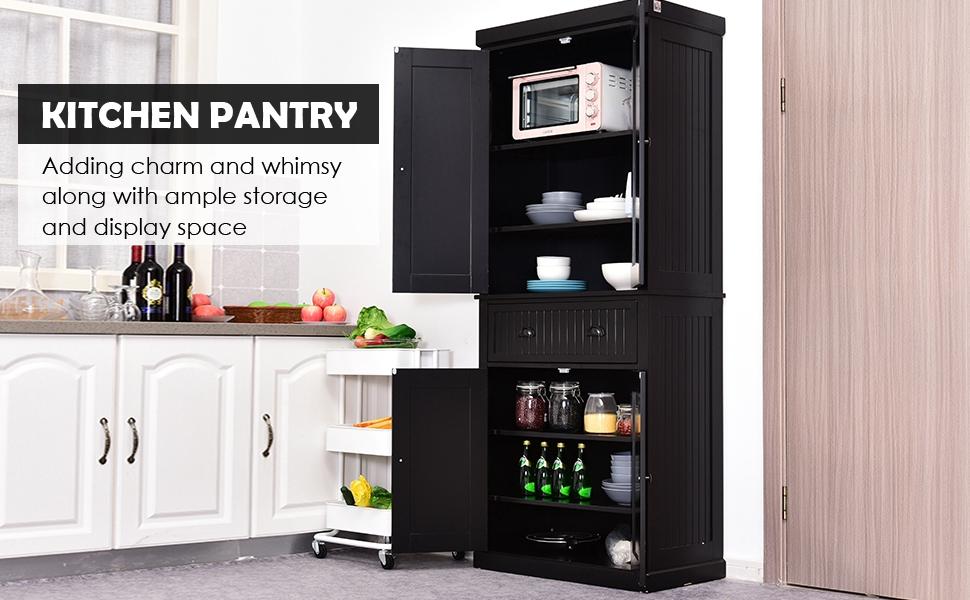 Homcom Storage Cabinet Cupboard Drawer Kitchen Pantry Home Organizer Furniture Black Amazon Co Uk Garden Outdoors