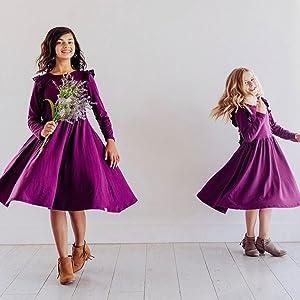girls long sleeve casual dress purple  for girls