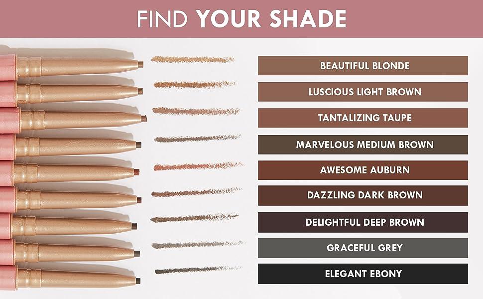 ebony grey deep dark light brown auburn taupe blonde eyebrow shade hair white