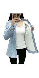 Long Sleeve Fleece Lined Chambray Denim Shirt Jacket