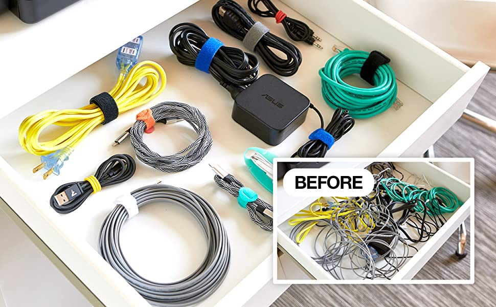 before and after junk drawer with organized cords using velcro cable straps for cord managment