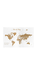 Decowood - Mapa Mundi de Corcho, Grande, para Marcar Tus Viajes por el Mundo y Colgar en la Pared, Fondo Blanco - 90x60cm: Amazon.es: Hogar