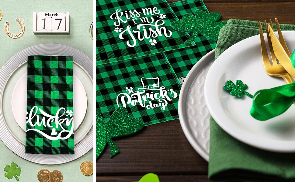 St. Patrick's Day Cloth Napkins Green Black Buffalo