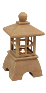 Sunnydaze Asian Lantern Outdoor Water Fountain with LED Light