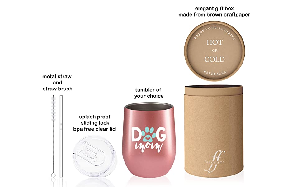 contents of the package including fancyfams tumbler brush stainless steel straw lid and a gift box