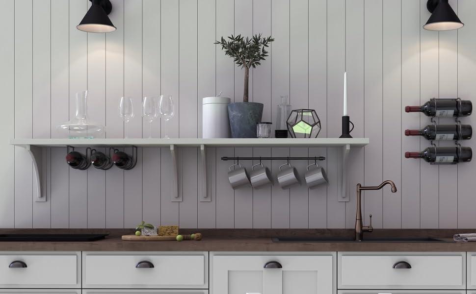 Amazon Com Wallniture Dijon Wine Rack Under Cabinet Or Wall Mounted Organization And Storage Unit For 3 Bottles Black Metal Decor Kitchen Dining