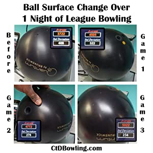 bowling ball surface change over 3 games