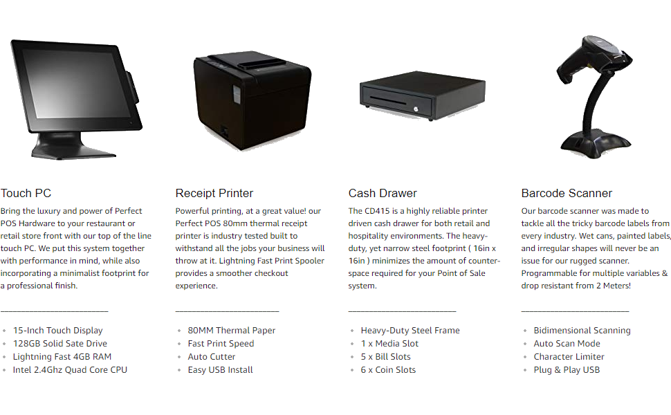 AIO Touch PC, Receipt Printer, Cash Drawer, Barcode Scanner