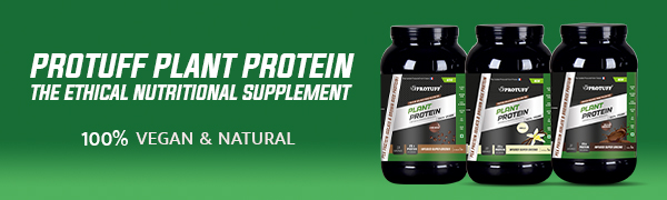 Plant Protein Products on Green Background with text