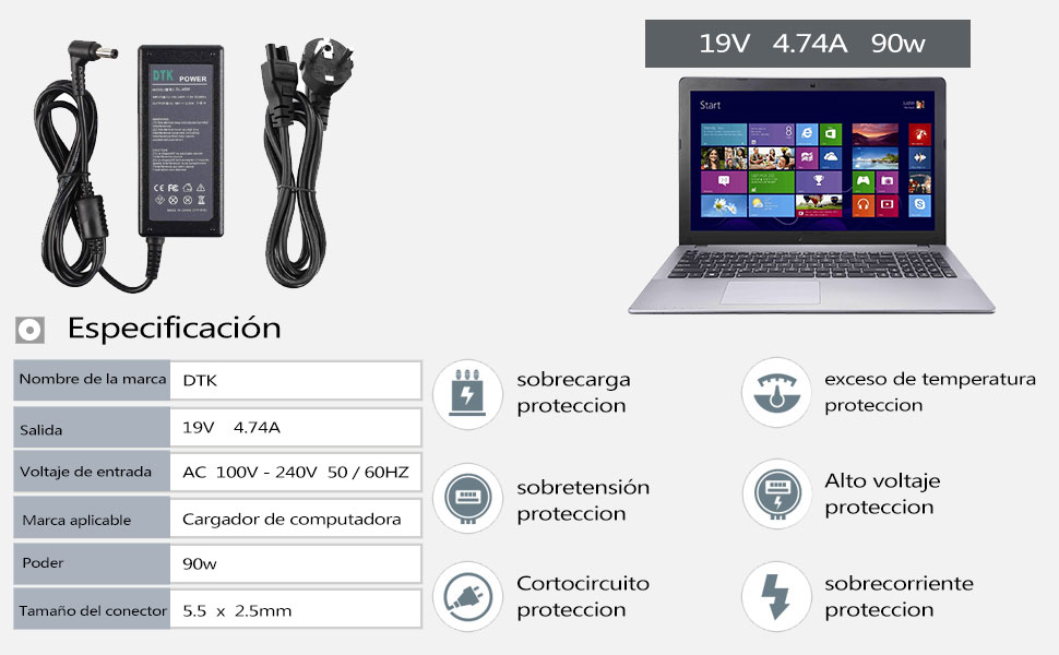 DTK® Computadora portátil Cargador Fuente de alimentación Adaptador Unidad de alimentación para portátil ASUS N17908 V85 19V 4.74A 90W Cargadore y ...