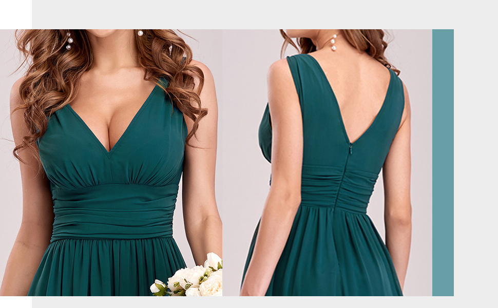 Plus size chiffon bridesmaid dress pregnant formal wedding guest gowns ruched evening dresses