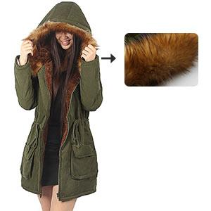 women winter jacket with faux fur trim