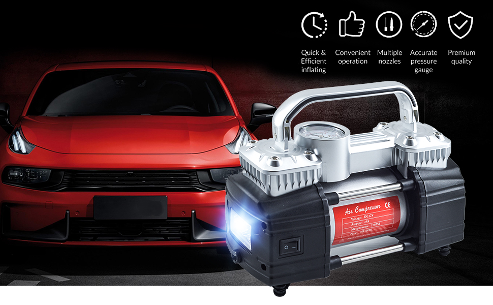 73805e57 49b0 4beb 9218 805c3c8b238a. CR0,0,970,600 PT0 SX970 V1 - GSPSCN Silver Dual Cylinder 12V Air Compressor Pump for Car, Heavy Duty Portable Tire Inflator 150PSI with LED Work Lights for Auto,Truck,SUV, RV,Balls etc