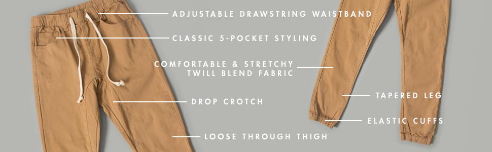 adjustable drawstring 5 pocket classic drop crotch tapered leg elastic cuffs twill fabric
