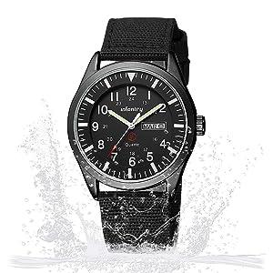 INFANTRY Military Watch Mens Quartz Black Wrist Watches for Man Sport Tactical Nylon Strap