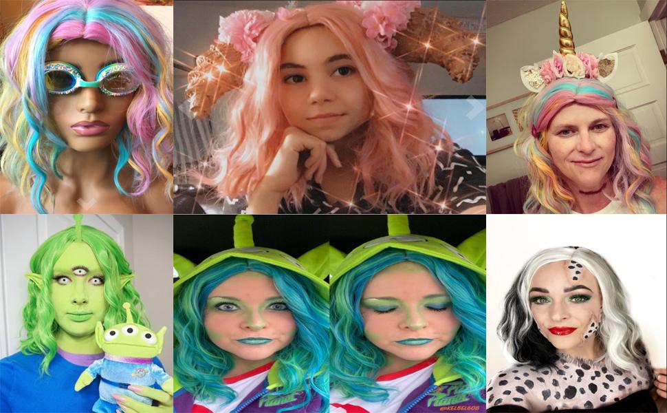 Women Girls Short Curly Bob Wavy Wig Body Wave Halloween Cosplay Daily Party Wigs
