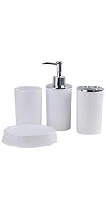 4 piece white bath accessories