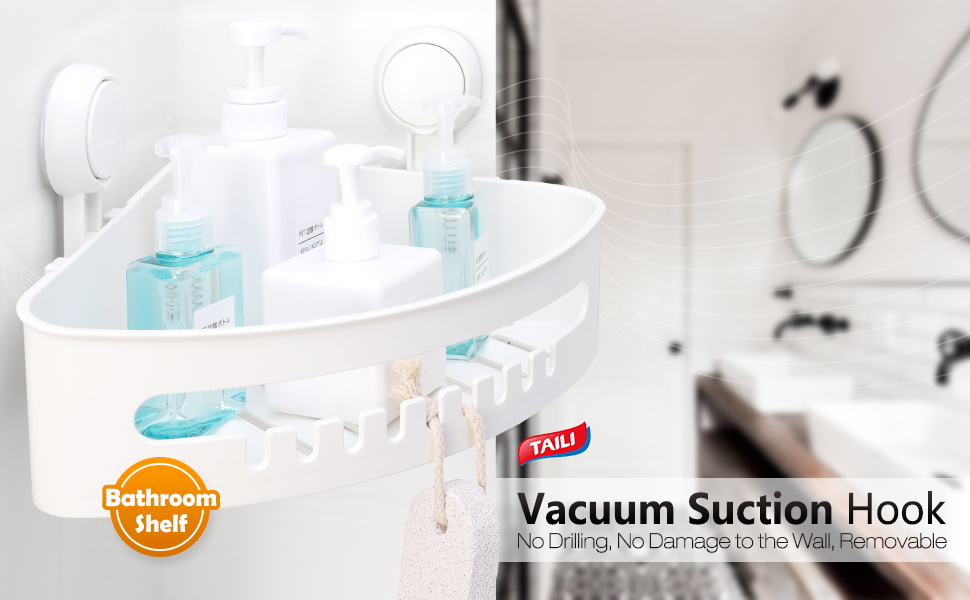 Suction Corner Shower Caddy Bathroom Shower Shelf Storage Basket Wall Mount M1F2