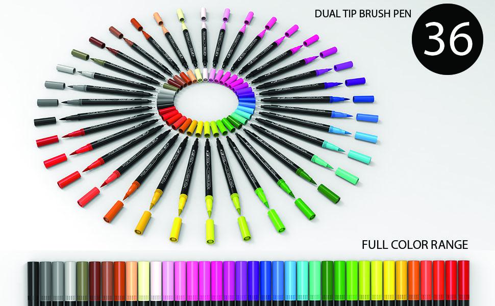 36 dual tip brush pens full color range primary secondary earth midtones pink metallic pastels grays