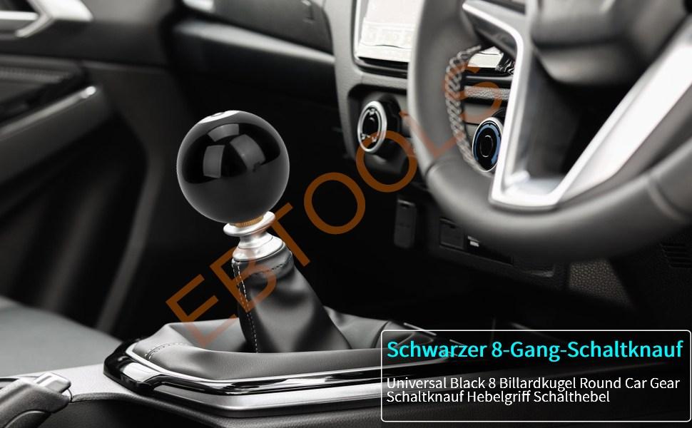Ebtools Schaltknauf Universal Universal Schwarz 8 Billardkugel Runde Auto Schaltknauf Hebelgriff Shifter Auto
