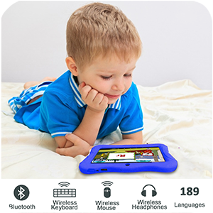 supporting bluetooth - Contixo V9-3-32 7 Inch Kids Tablet, 2GB RAM 32 GB ROM, Android 10 Tablet, Educational Tablets For Kids, Parental Control Pre Installed Learning Game Apps WiFi Bluetooth Tablets For Kids, Dark Blue