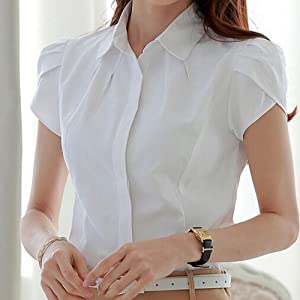 white petite button up shirt